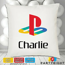 Personalised Playstation Logo Gamers Cushion Cover • Any Name • Great Gift (CC8)