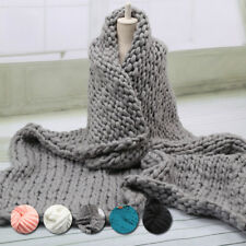 NEU handgefertigt Klobige gestrickt Decke Wolle dickes Line Garn Merino Überwurf