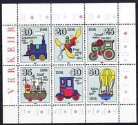 DDR Mi Nr. 2566 - 2571 ** KB Kleinbogen, historisches Spielzeug 1980, postfrisch