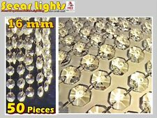 50 / 1m CHANDELIER LIGHT CRYSTALS DROPLETS GLASS BEADS WEDDING DROPS 16 mm PARTS
