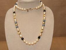 Joan Rivers Black & White Baroque Faux Pearl & Goldtone Ball Bead Necklace 36""