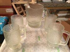 Glass pitcher and mug set