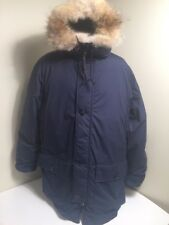 Vintage Eddie Bauer Coyote Fur Goose Down Parka Jacket Coat Men's XL Navy Blue
