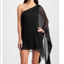 GUESS One Shoulder Asymmetrical Black Silk Party Designer Dress SIZE L