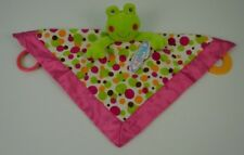 Mary Meyer Baby Frog Lovey Security Blanket Green Pink Circles Polka Dots White
