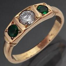 Green EMERALD & Cubic Zirconia TRILOGY 18k Solid Rose GOLD ETERNITY RING Sz O1/2