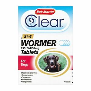 Bob Martin Clear 3-In-1 Wormer Tablets For Dogs - 6 x 4 PACK [BCL0385]