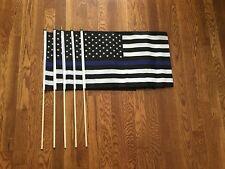 Thin Blue Line American Flag 12X18 STICK Black & White Police Policemen 5 FLAGS