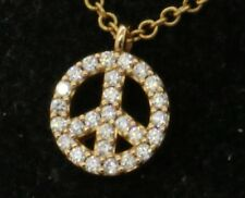 Tiffany & Co. 18K gold .27CT VS1/E diamond Peace sign pendant on chain necklace