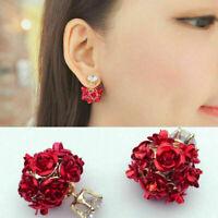 Paar Rose Blumen Ohrring Kristall Ohrstecker Schmuck Damen Geschenk