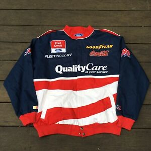 Vintage 90's Dale Jarrett FORD QUALITY CARE Winston Cup NASCAR Jacket Size Large