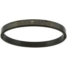 Stainless Steel Lords Prayer Oval Black Bangle Bracelet