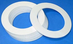 WHITE LASER CUT PLASTIC RINGS IN 3MM THICK ACRYLIC DISCS - PERSPEX