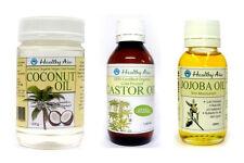 Certified Organic CASTOR & JOJOBA & COCONUT Oil (3 Pack) Premium