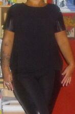 Schönes Damen-Fashion-Shirt Schwarz mit PU-Ärmeln Gr.L/44/46 NEU