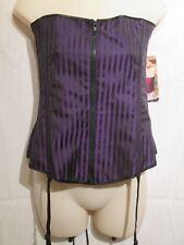 X25978 - Shirley of Hollywood, Corset, Black/Purple stripe, Size 38C/D
