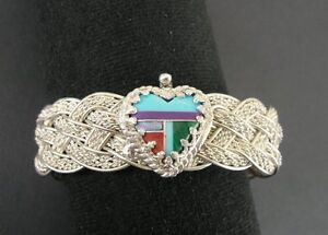 Heart Braid Turquoise Malachite Inlay Stones Sterling 925 Silver Bracelet