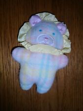 Playskool SNUZZLES Flannel Pastel Plaid Lion Rattle RARE