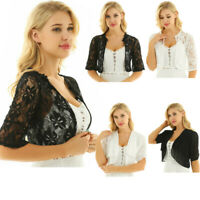 Womens Half Bell Sleeve Sheer Floral Lace Chiffon Bolero Shrug Cardigan Top Coat