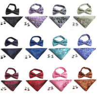 Men Paisley Pre-tied Tuxedo Bow Tie Cufflinks Handkerchiefs Pocket Square Set
