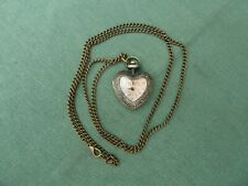 Heart Watch Fob Pendant Necklace with Chain - Antique Bronze Effect NEW