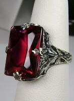10ct Sim Red Ruby Sterling Silver Art Deco Leaf Filigree Ring [Made To Order]