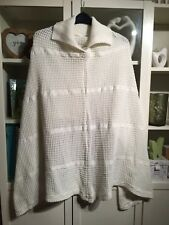 P50 Plus18/20/22Cream/White Cable Knit Long Front Short Back Poncho Shawl Jumper