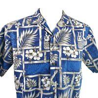 Royal Creations Medium Tribal Ukuleles Hibiscus Blue Pale Brown Hawaiian Shirt