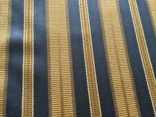 GORGEOUS CUSTOM PIERRE FREY PINCH PLEAT LINED DRAPES~NEW~BLUE&GOLD STRIPE
