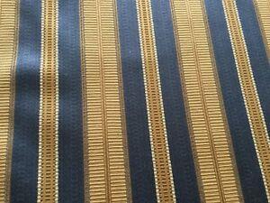 GORGEOUS CUSTOM PIERRE FREY PINCH PLEAT LINED DRAPES~NEW~BLUE&GOLD STRIPE