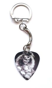 Guitar Pick Plectrum Key Ring Snake Chain KISS Gene Simmons Demon bat rock fob