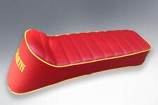 LAMBRETTA ANCILLOTTI STYLE SEAT OXBLOOD RED WITH YELLOW LOGO & PIPING