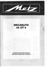 Metz Mecablitz 45 CT 4, 45 CT4 Flash Instruction Manual: English & Spanish
