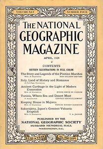 1924 National Geographic April -Pontine Marshes; Italy; Carthage;Majorca;Tunisia