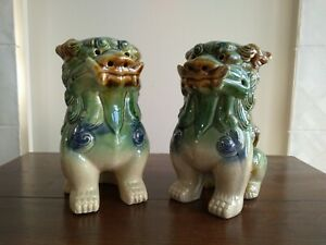 PAIR CHINESE CERAMIC FOO DOGS - FU LIONS ASIAN FENG SHUI