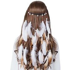Boho Hippy Indian Feather Headband Festival Weave Hairband Headdress Costume