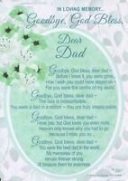 Grave Card GOODBYE GOD BLESS DEAR DAD Graveside Verse Memorial Funeral Memory💔