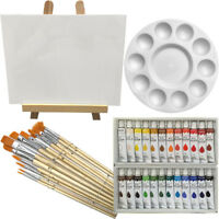Art Painting Kit - Artist Paint Set with Easel, Canvas, 12 Brushes & 24 Oil
