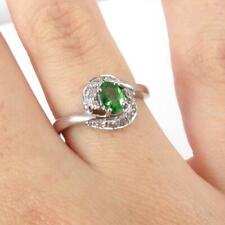 Green Tsavorite Garnet 0.10c Diamond Accent Halo 14K White Gold Ring Size 7 LHH2