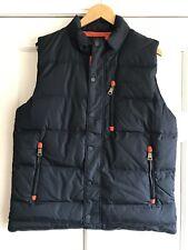 Orvis Goose Down Vest Jacket Blue Orange Trim Mens Large