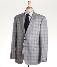 NWT $1475 ARMANI COLLEZIONI 'G-Line' Light Gray Check Wool Sport Coat 42 R