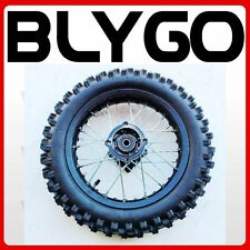 "BLACK 15mm Axle 3.00- 12"" Inch Rear Wheel Rim Knobby Tyre Tire PIT PRO Dirt Bike"