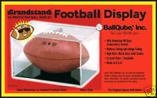 (4)BALLQUBE FOOTBALL CUBE DISPLAY CASE  w/ CRADLE w/ UV