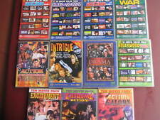 11 DVD PACK-10 MOVIES IN EACH PACK COLLECTION-THRILLER/ADVENTURE/GENERAL-VGC.