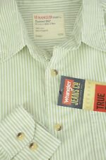 Wrangler Men's White & Olive Striped Cotton Casual Shirts s Small NWT