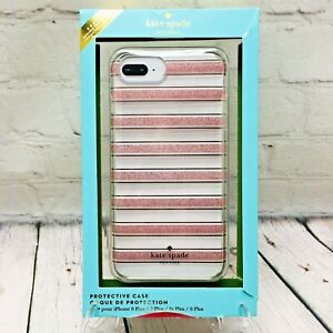 Kate Spade Phone Case For iPhone 8/7/6s/6 PLUS Rose Gold Glitter Stripe Clear