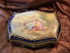 Beautiful Hand Painted Artist Signed SEVRES STYLE PORCELAIN  Dresser Box
