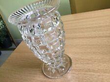 """Vintage 1950s Heavy Pressed Glass Vase Large Cubes Design 7.5"""" / RDG NO 790139/"""