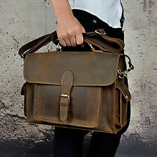 Men Crazy Horse Leather Original Briefcase 14'' Laptop Messenger Shoulder Bag