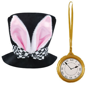 WHITE RABBIT BUNNY EARS TOP HAT AND CLOCK EASTER FANCY DRESS COSTUME ACCESSORY